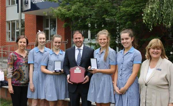 Kooyong Student Prize presentation at Camberwell Girls Grammar School
