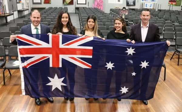 Flag presentation at Swinburne Senior Secondary College