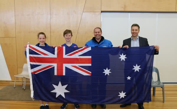 Flag presentation at Greythorn Primary School