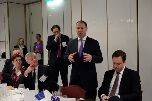 Addressing members of the European Australia Business Council