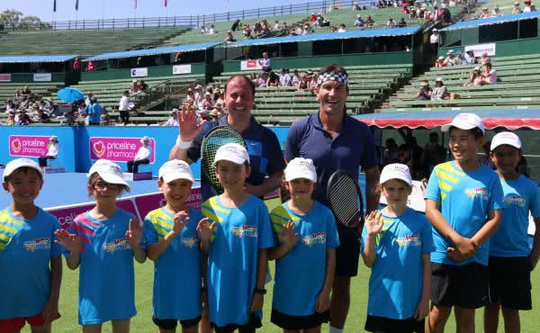 Opening hit with Pat Cash at the 2017 Kooyong Classic