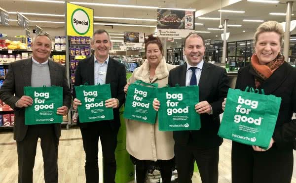 Launch of Woolworths' phase out of single-use plastic bags